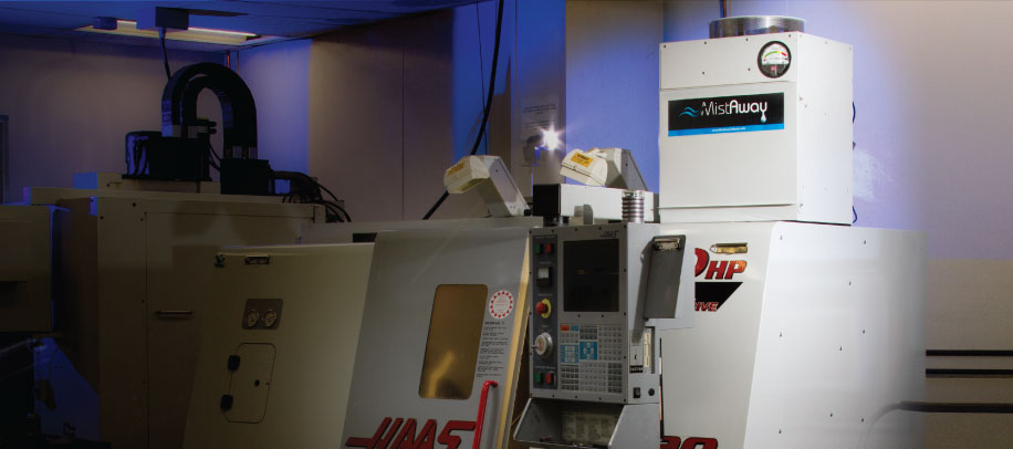 Mistaway Mist Collector Installed on Hass SL-20 Lathe